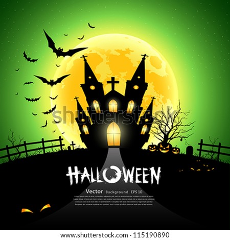 Happy Halloween house scary on green background, vector illustration - stock vector