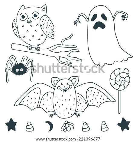 Happy Halloween Illustrations: Ghost, owl, star, marshmallow, spider, bat, moon, lollipop.