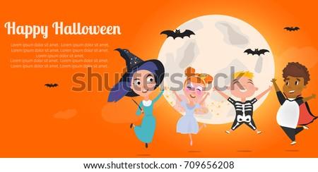happy halloween kids character vector concept cute halloween kids set vector