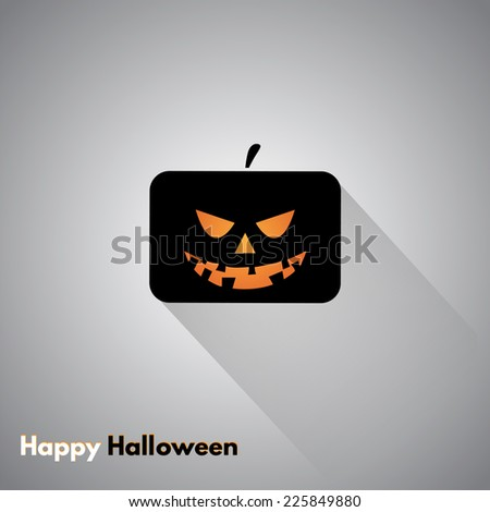 Happy Halloween label with pumpkins. Made in vector