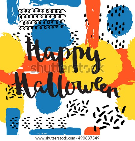 happy halloween lettering quotes hand drawing ink vector art modern brush calligraphy poster in