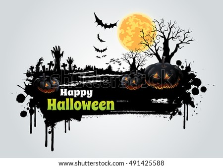 Happy Halloween message design background.- Vector Illustration
