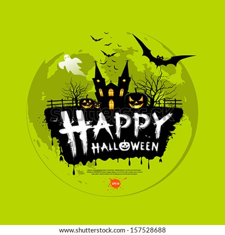 Happy Halloween message design on green background, vector illustration - stock vector