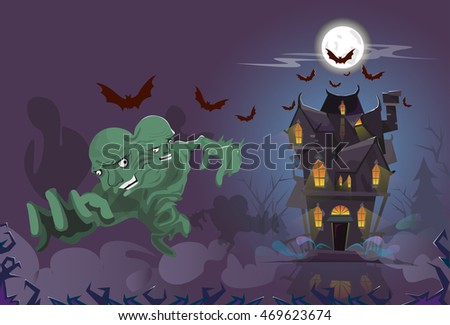 Happy Halloween Monster Night House Party Invitation Card Flat Vector Illustration