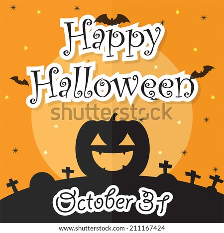 Happy Halloween Night Background with Moon, Bat, Pumpkin and Grave, VECTOR, EPS10 - stock vector