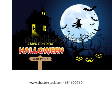 Happy Halloween Night Party Design For Holiday Festival Vector Illustration.