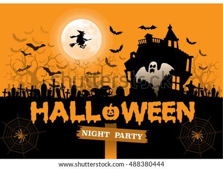 happy halloween night party holiday orange design vector illustration - Halloween Night Party