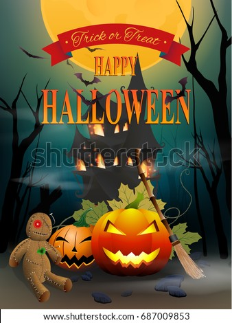 Happy Halloween Night Party With Voodoo Doll And Horrible Background Design  For Invitation Card Poster Flyer