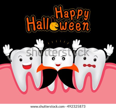 Happy Halloween Teeth Dracula Funny Cute Stock Vector 492325873 ...