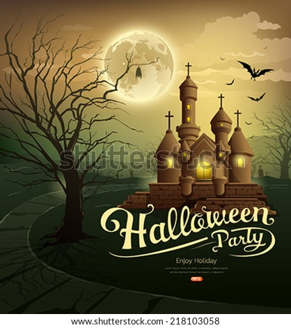 Happy Halloween party castles with message, bat, silhouette tree, moon design background, vector illustration - stock vector