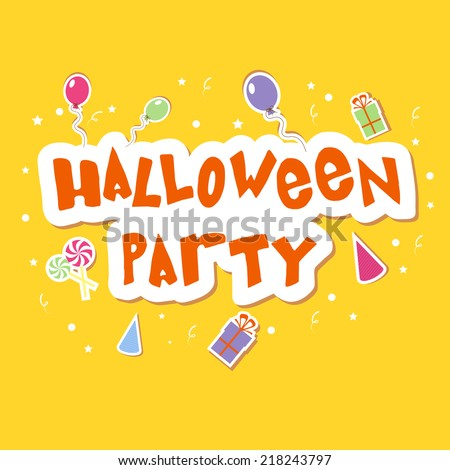 Happy Halloween party celebrations with stylish text on balloons and gift box decorated yellow background.