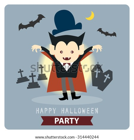 Happy Halloween party cute vampire, dracula, cartoon character vector illustration design background eps 10 - stock vector