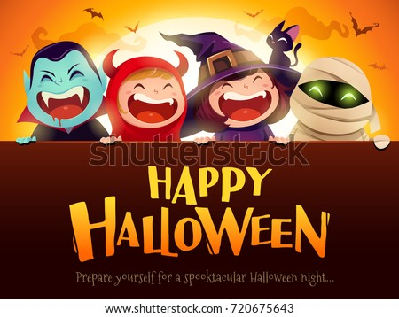 Exceptional Happy Halloween Party. Group Of Kids In Halloween Costumes With Big  Signboard. In The