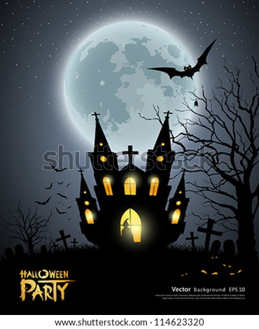 Happy Halloween party house scary background, vector illustration - stock vector