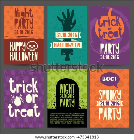 Happy Halloween party invitation, greeting card, flyer, banner, poster templates. Hand drawn silhouettes of zombies, pumpkin, headstone and magical witch's hat.  Place for your text. Vector.