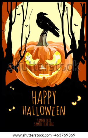 Captivating Happy Halloween Party Poster, Flyer, Banner. Horror Night Style Card. With  Pumpkin