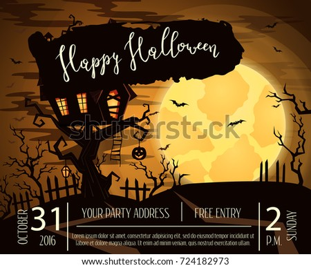 Happy Halloween Party Poster With Spooky Castle On Tree In Mystic Forest At  Night Under Full