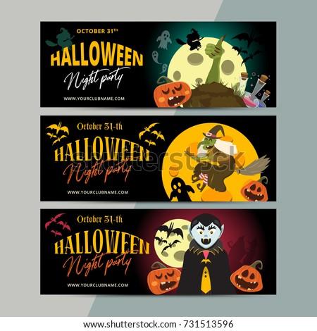 Happy Halloween Party Ticket Template Design Stock-Vektorgrafik ...