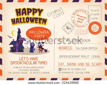 Happy Halloween party Vintage Postcard invitation background design layout - stock vector