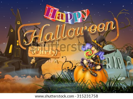 Happy Halloween party, witch vector background - stock vector
