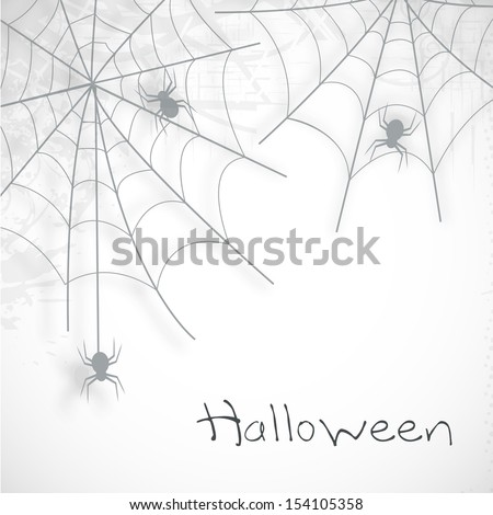 Happy Halloween poster, banner or flyer with spider web on grey background.  - stock vector