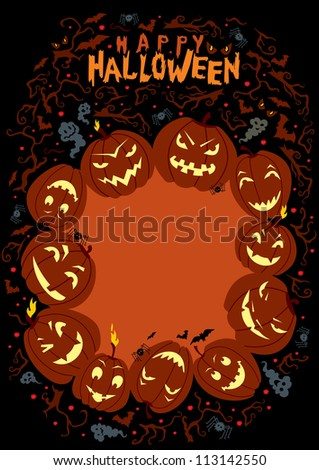 Happy Halloween Poster. Handwritten title