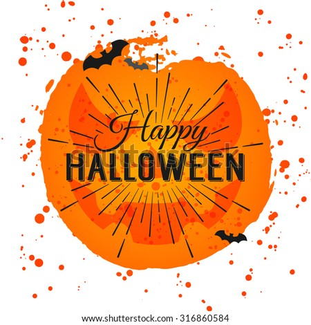 Happy Halloween Poster on bright watercolor background with stains and drops. Vector Illustration of Happy Halloween banner with halloween elements. Bats, spiderweb.  - stock vector
