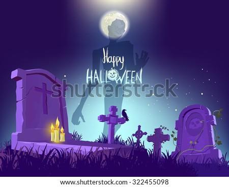 Happy Halloween poster, vector illustration - stock vector