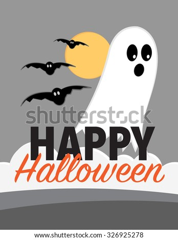 Happy halloween poster with ghost, bats, and moon - stock vector