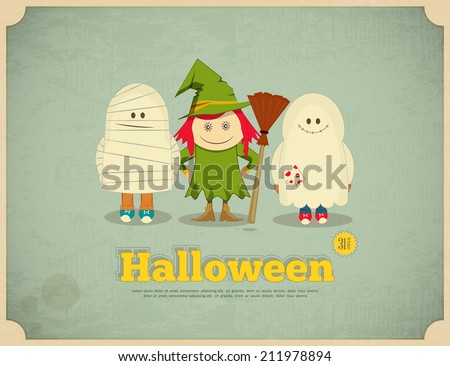 Happy Halloween Retro Card with Witch, Mummy and Ghost. Vector Illustration. - stock vector