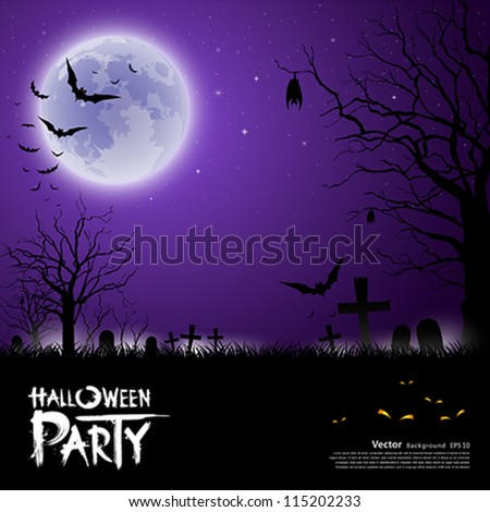 Happy Halloween scary on purple background, vector illustration