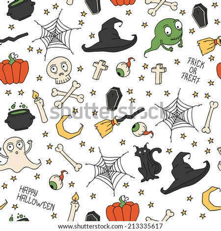 Happy Halloween. Seamless pattern with pumpkins, skulls, cats, spider's web, ghosts, monsters, witch hat. Trick or treat. Vector illustration. Background.