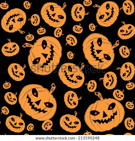 Happy Halloween! Seamless pattern with pumpkins, vector illustration.