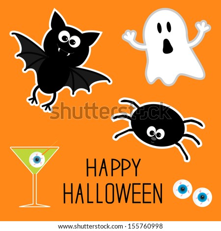 Happy Halloween set. Ghost, bat, spider, eyes, martini. Card. Vector illustration - stock vector