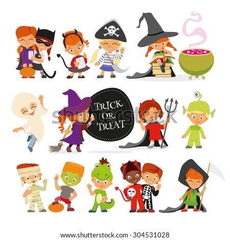 Happy Halloween. Set of cute cartoon children in colorful halloween costumes:cat,pirate,devil,witches,ghost,dragon,ufo,mummy,skeleton.Cartoon icon set for halloween kid design. Isolated on white - stock vector