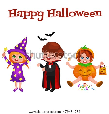 Happy Halloween. Set of cute cartoon children in colorful halloween costumes: Dracula, girl dressed as a pumpkin, sorceress