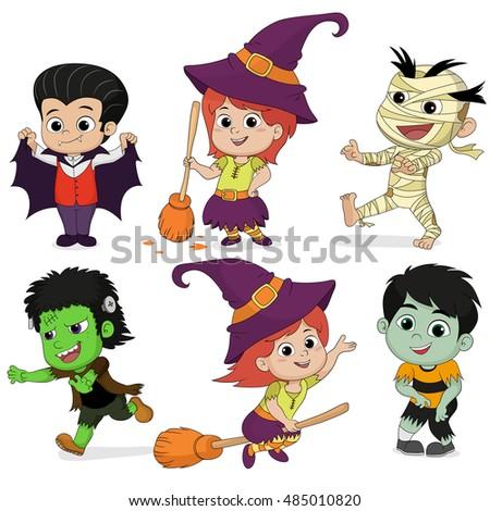 happy halloween set of cute cartoon children in colorful halloween costumes witchesdragula - Happy Halloween Com