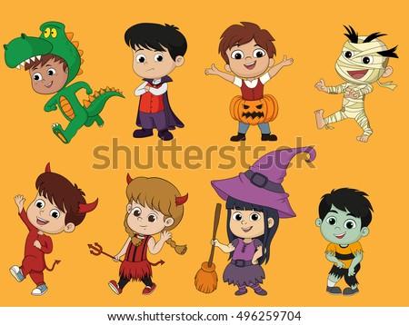 happy halloween set of cute cartoon children in colorful halloween costumeswitchesdragula - Happy Halloween Cartoon Pics
