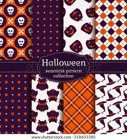 Happy Halloween! Set of seamless patterns with traditional holiday symbols: skulls, witch hats, evil owls and jack o'lanterns. Collection of vector backgrounds in purple, orange and white colors. - stock vector