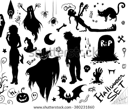 Happy Halloween set. Vector collection of silhouettes. Hand drawn realistic/cartoon sketches:zombie,ghost,maniac with axe,grave,coffin,mummy,cat,bat, bones,candies, wolf trace, pumpkins, eyes,teeth... - stock vector