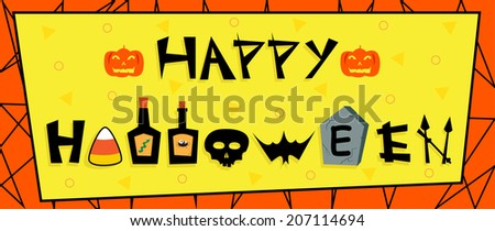 Happy Halloween Sign - Cute Halloween banner with Happy Halloween fun text and a colorful background. Eps10 - stock vector