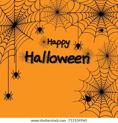 happy halloween spider web and spiders for greeting card poster banner vector illustration - Halloween Spiders