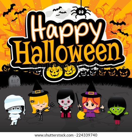 Happy Halloween text banner on orange and black spooky background with Children dressed in costumes as dracula, vampire, witch, mummies, frankenstein, spider, bats, grave yard, pumpkins and full moon. - stock vector