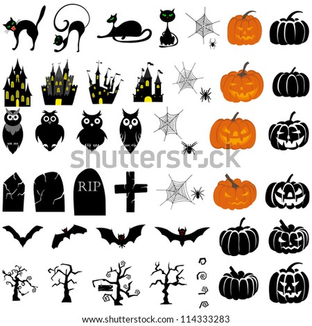 Happy Halloween Theme Icon Set Vector Stock Vector 114333283 ...
