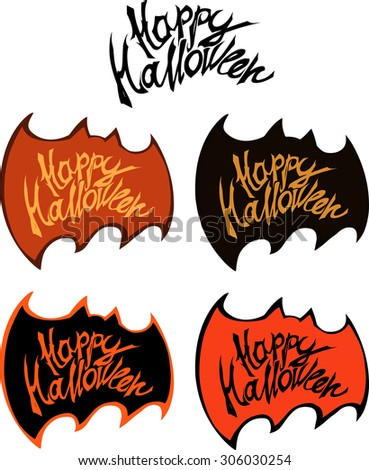 Happy halloween title framed with bat silhouette for halloween greeting card - stock vector