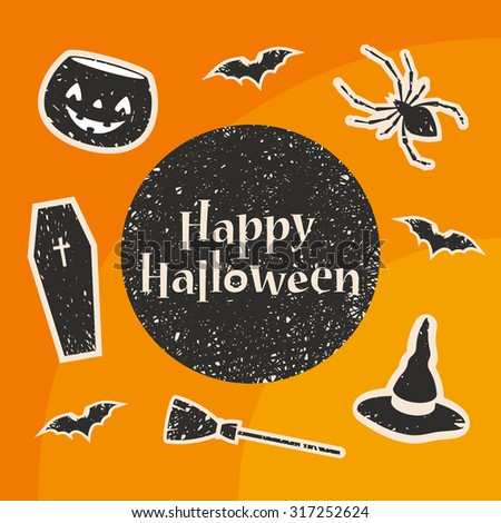 Happy Halloween Title. Stylized Decorations: Pumpkin, Bat, Spider, Witch Hat, Broom and Coffin. Vector Illustration - stock vector