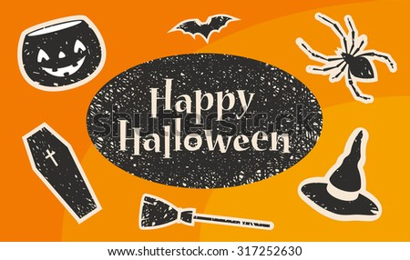 Happy Halloween Title. Stylized Silhouettes: Pumpkin, Bat, Spider, Witch Hat, Broom and Coffin. Vector Illustration - stock vector