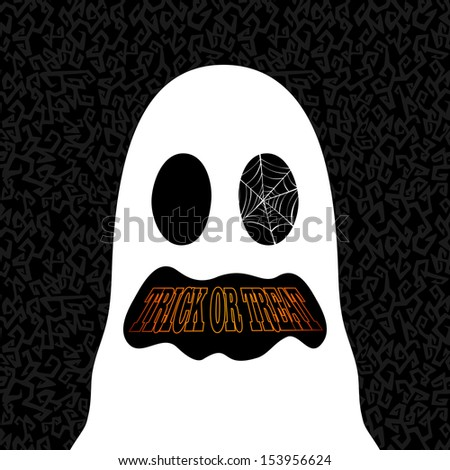 Happy Halloween trick or treat ghost banner holiday icon illustration. EPS10 vector file organized in layers for easy editing. - stock vector