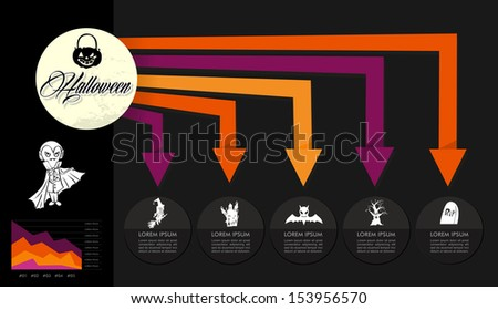 Happy Halloween trick or treat Infographics template design with icons, text and values illustration background. EPS10 vector file organized in layers for easy editing - stock vector