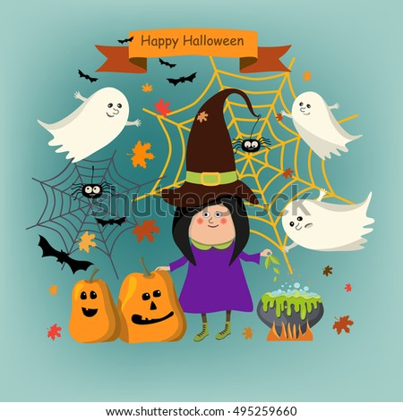Happy Halloween vector. Girl witch in hat and cloak. Traditional items for celebrating: cauldron, pumpkin, ghosts.